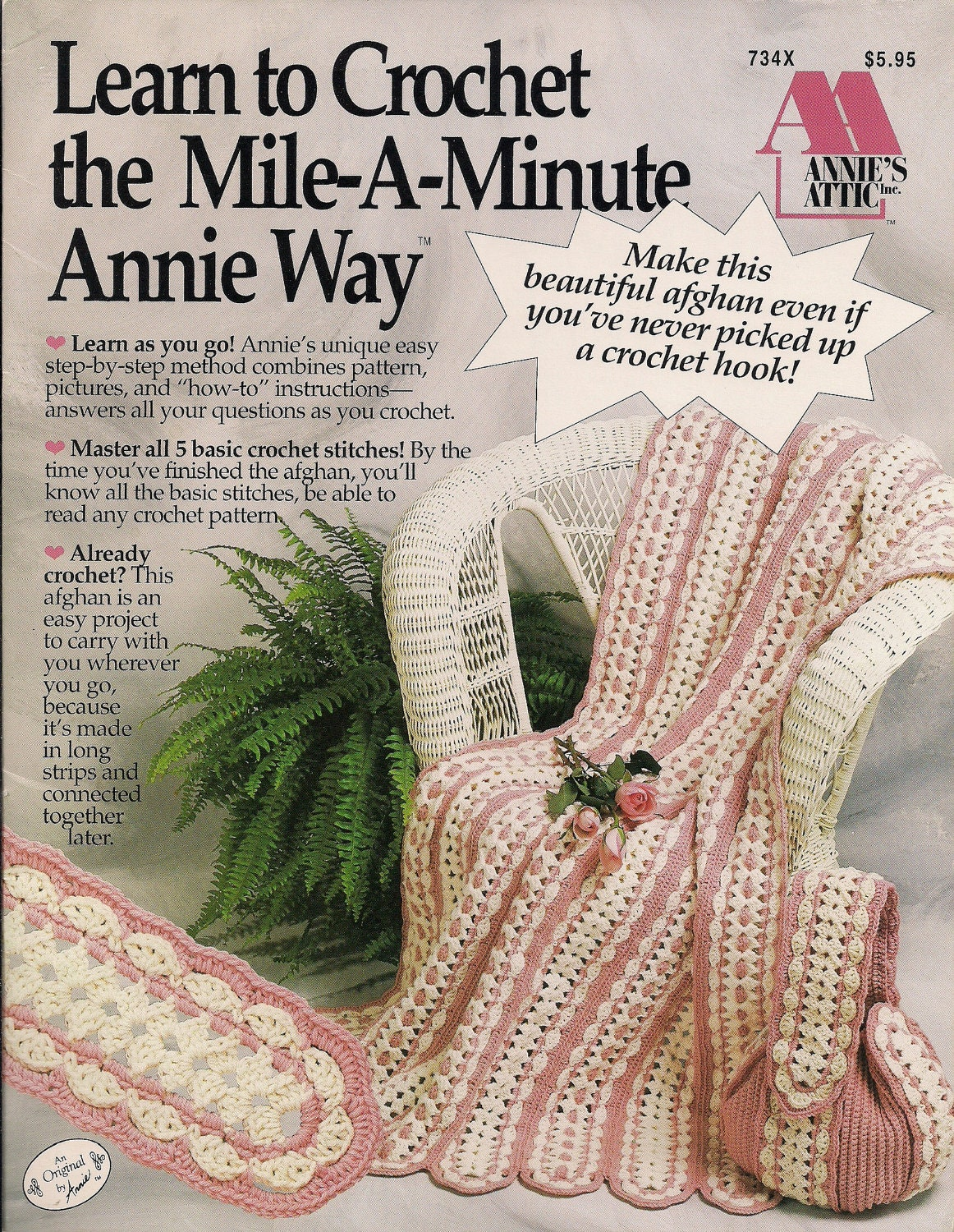Tote Bag And Afghan Mile A Minute Crochet Pattern By
