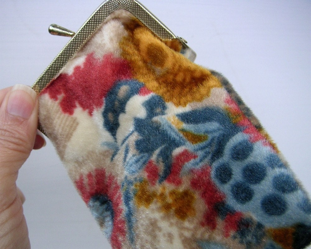 Vintage Fuzzy Fabric Cigarette Case Wallet