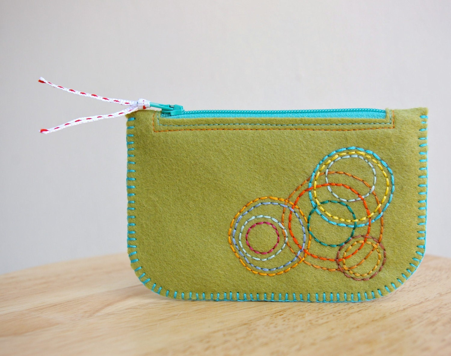 Colorful Circles: Made To Order Hand Embroidered Wool Felt Coin Purse or iPhone Cozy by LoftFullOfGoodies