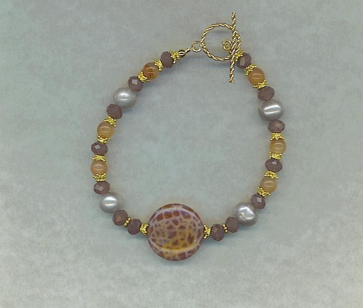 Fire Agate And Multi Gem Vermeil Bracelet