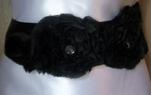 Black Chiffon Double Flower Bridal Sash