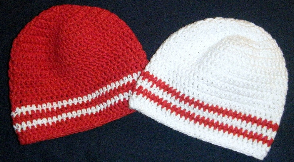 Twin Beanies in Red and White - 3 to 6 Months Ready to Ship