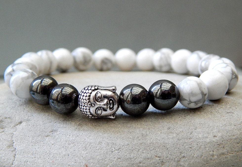 Mens Bracelet Mens Buddha Bracelet Yoga Bracelet Howlite Hematite Bracelet Mens Jewellery Unisex Gift Ideas