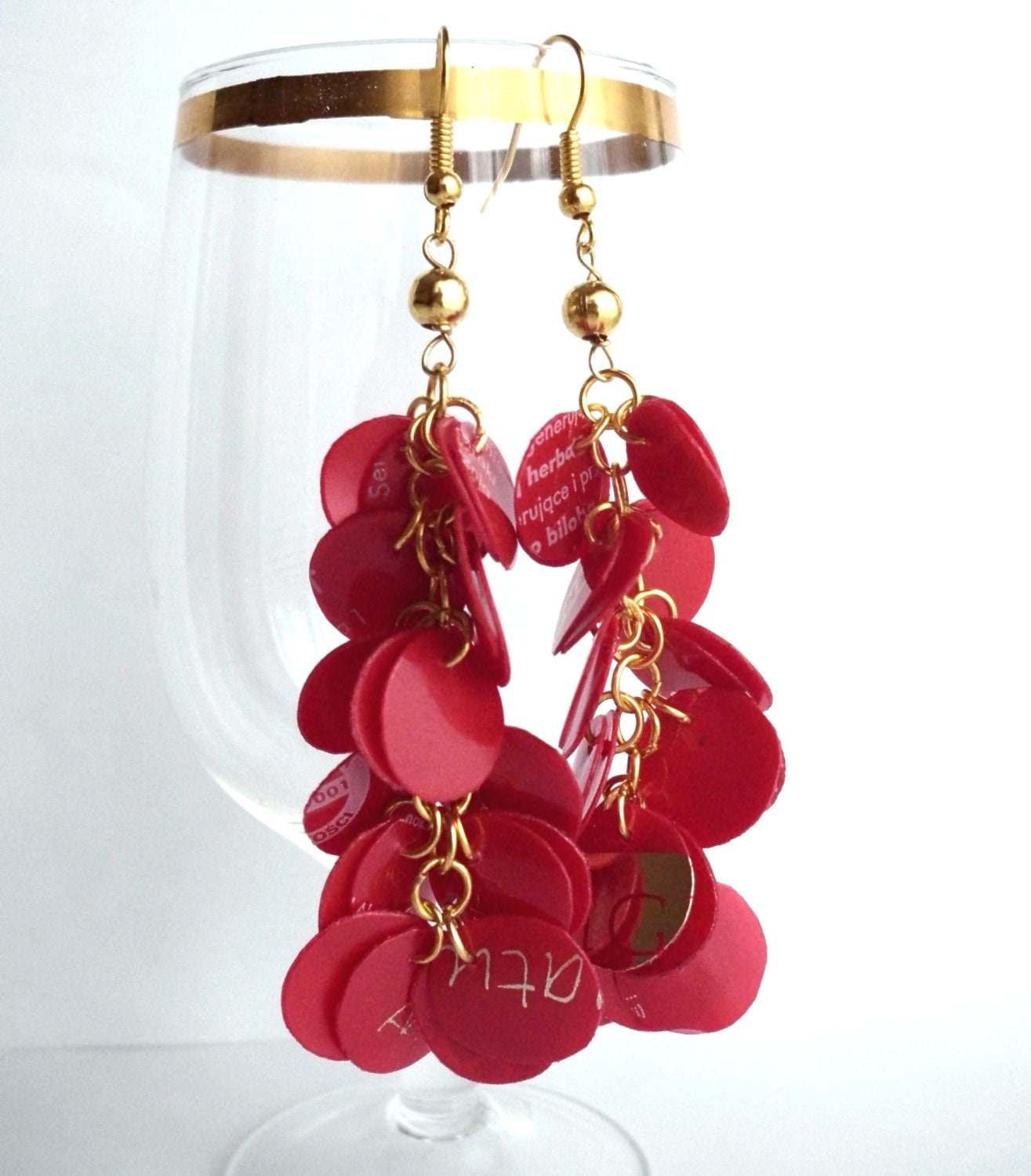 Red & gold eco friendly earrings made of recycled plastic - upcycled jewelry, sustainable, gift for christmas, valentine's day - dekoprojects