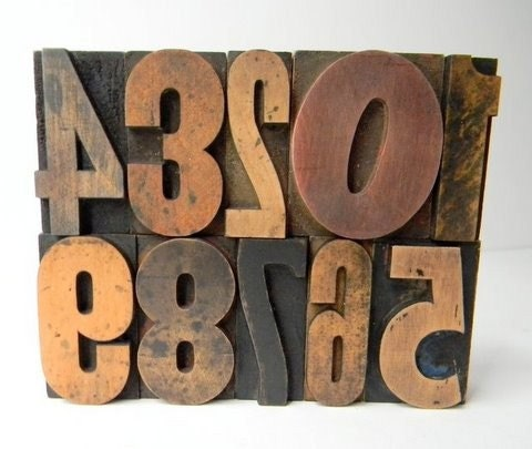 Vintage wood type numbers 0-9  2 inch
