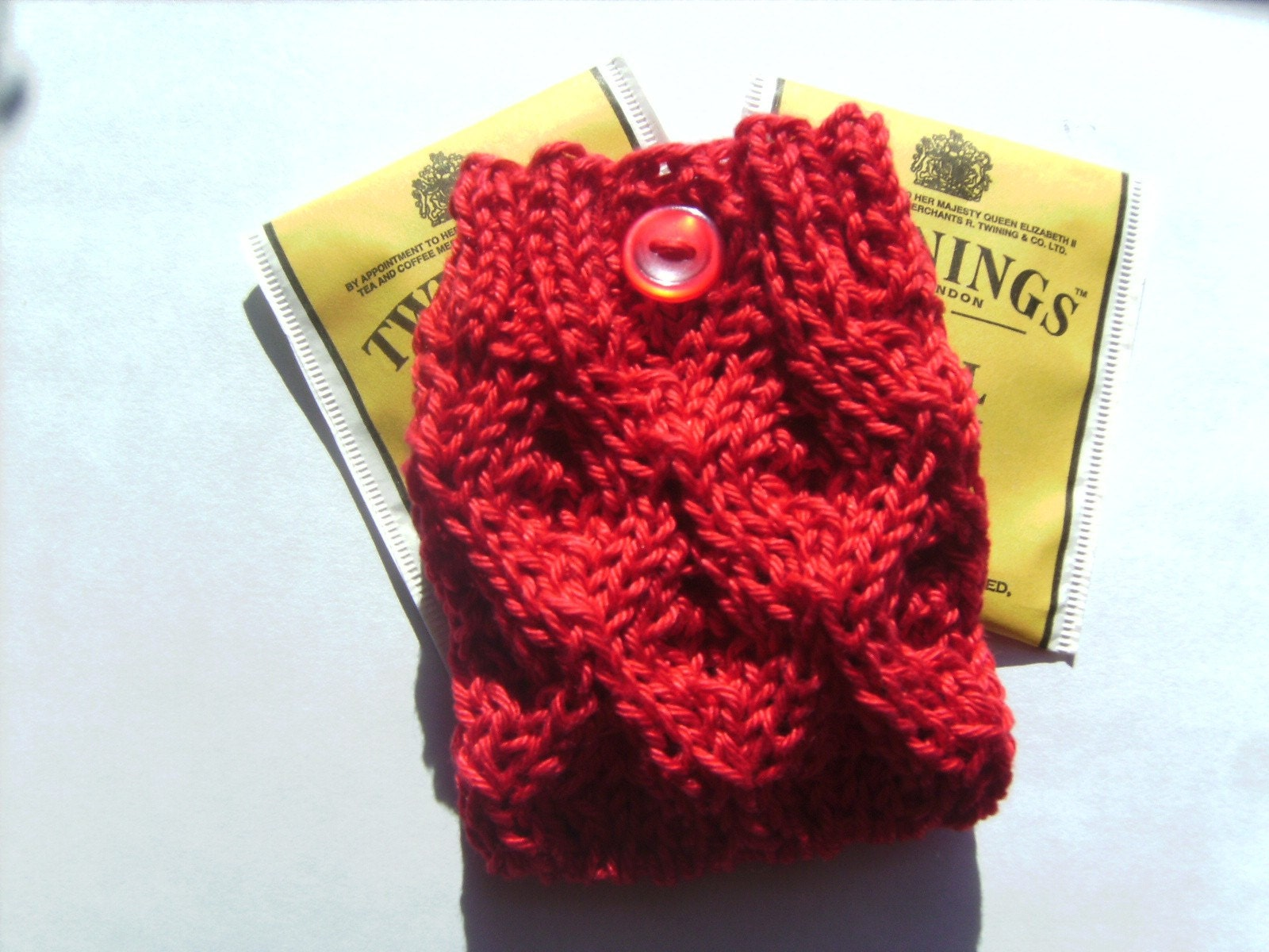 Handmade Elegant Red Lace Knit Tea Bag Cozy or Jewelry Pouch