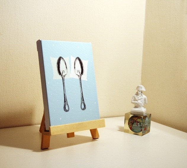 Spooning Mini Canvas BLUE 5x7'' With Wooden Easel