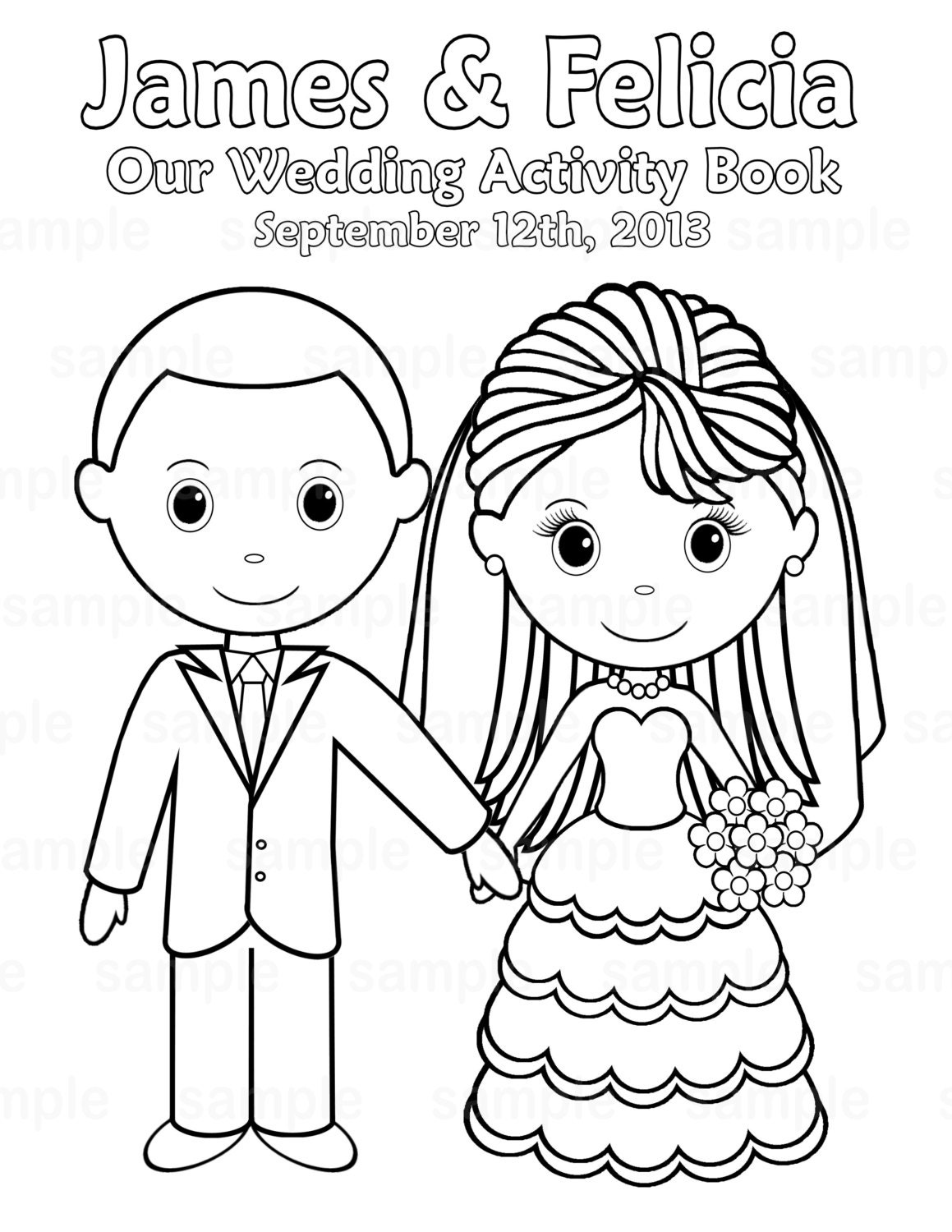 Printable personalized wedding coloring activity by for Free custom coloring pages