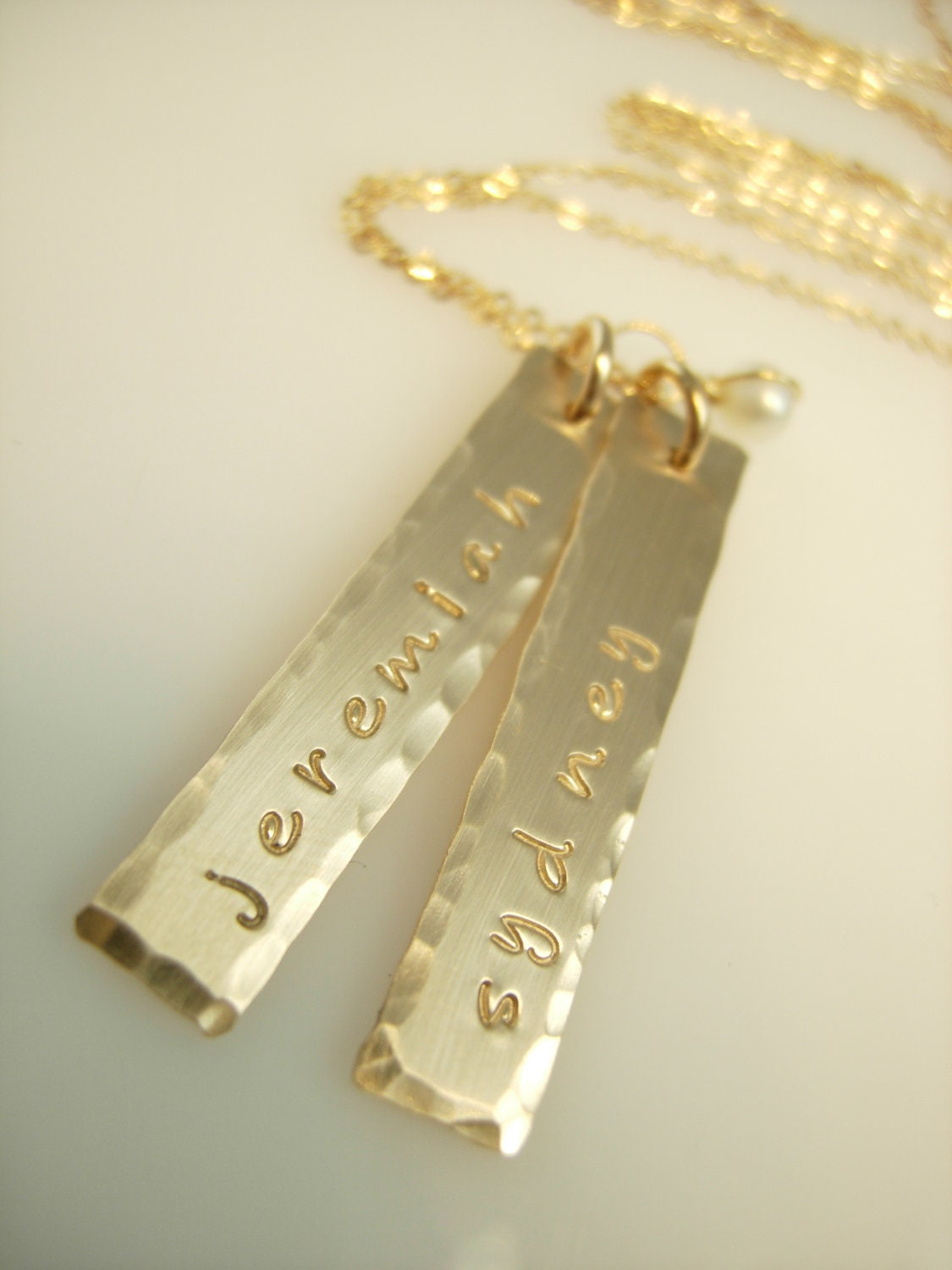 personalized gold bar necklace by jamesmichellejewelry on etsy