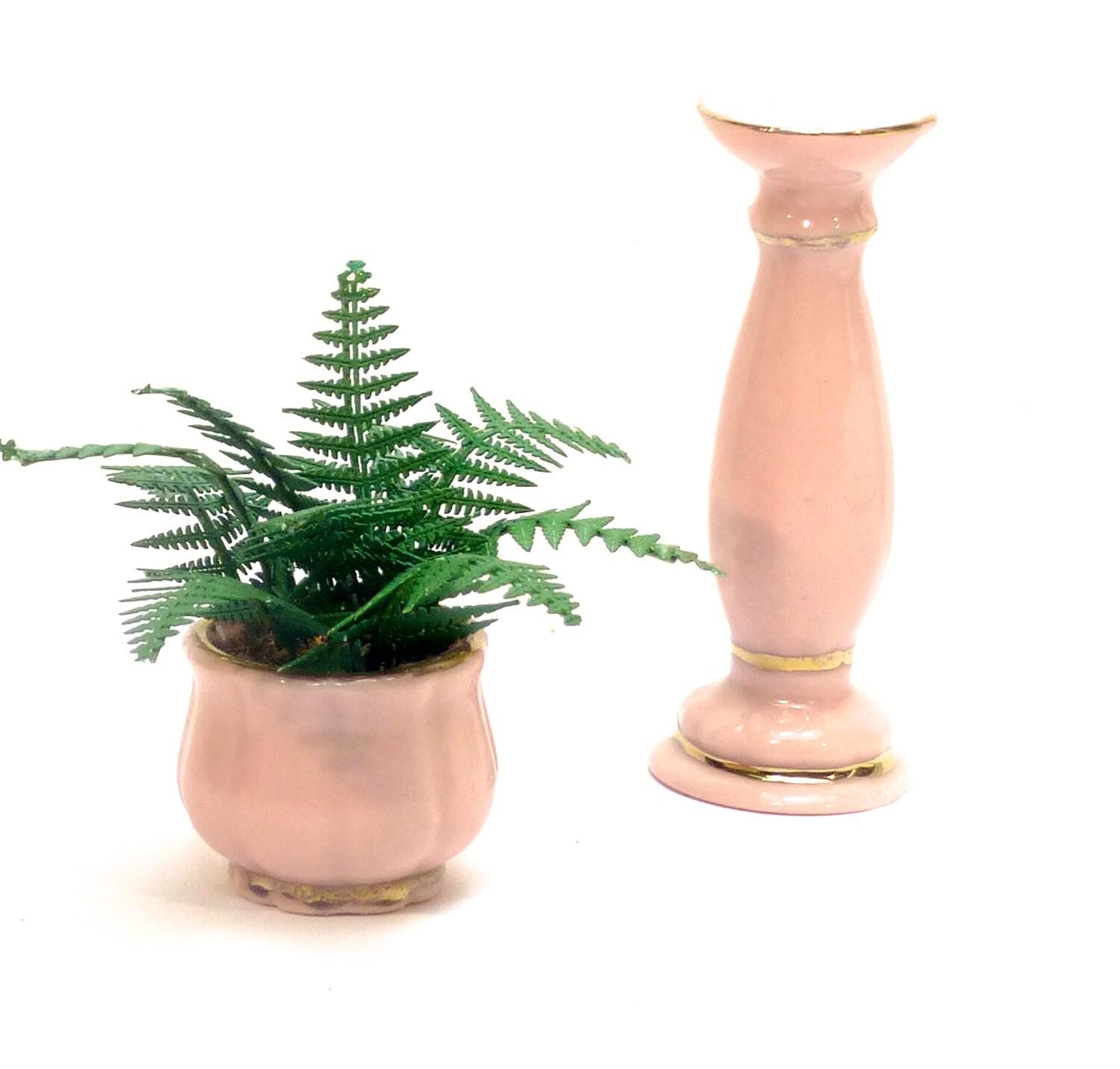 Handmade Plant LASER CUT FERN pink ceramic planter dolls house miniature flower 12th
