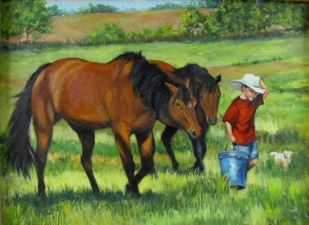 Bringing the Horses In - FRAMED 18x24 Oil on Canvas