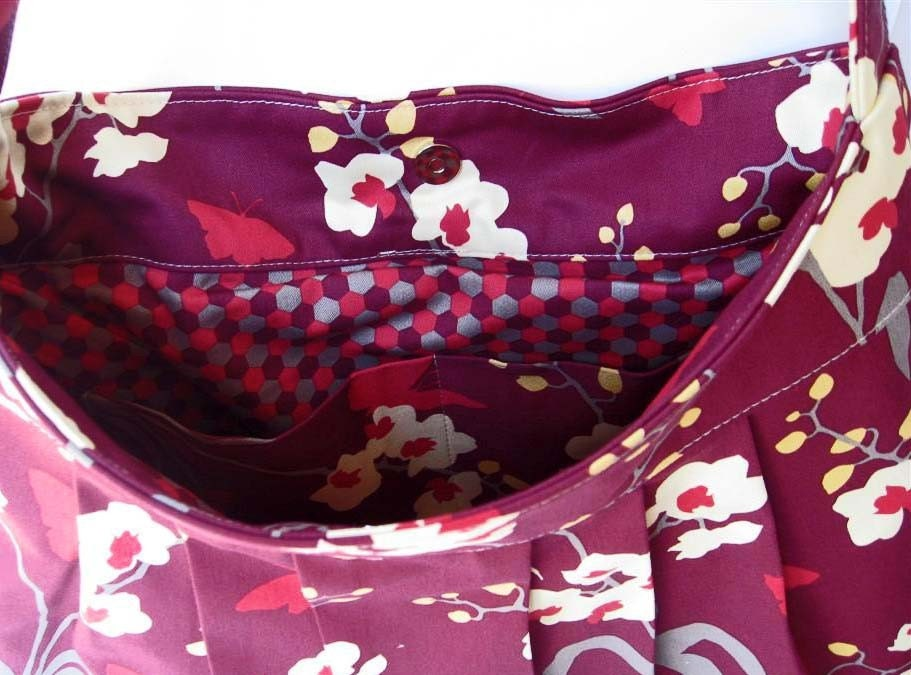 Pleated Bag with Adjustable Strap - Orchid Mulberry