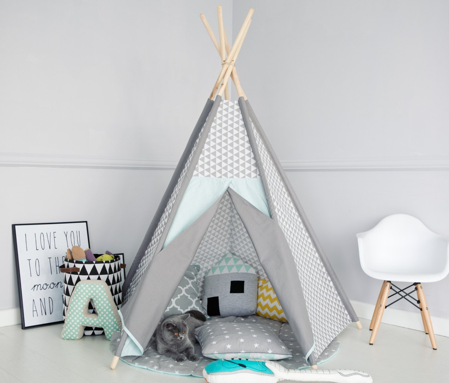 SALE Kids teepee girls wigwam childrens tent mint  gray Kids teepee play tent and wigwam