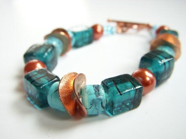 Turquoise Aqua Blue Solid Copper Bracelet Southwest Inspired - BeadzNBling