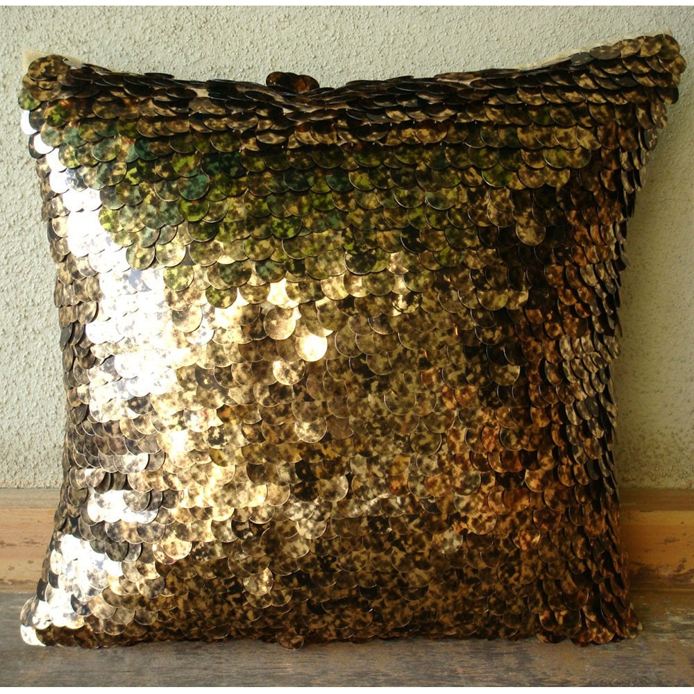 Exotic Gold N Black Scales - Throw Pillow Covers - 16x16 Inches Silk Pillow Cover Embellished with Shaded Sequins