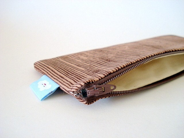 Pencil (and) Pen zipper pouch--- Woodgrain