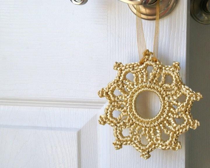 Crochet Ornament, Satin Cord in Tan