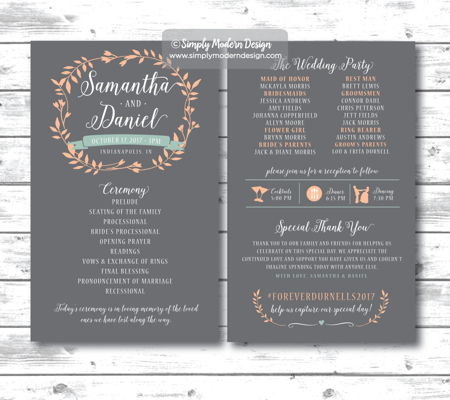 Wedding Ceremony Program Invitation Wedding Program Rustic