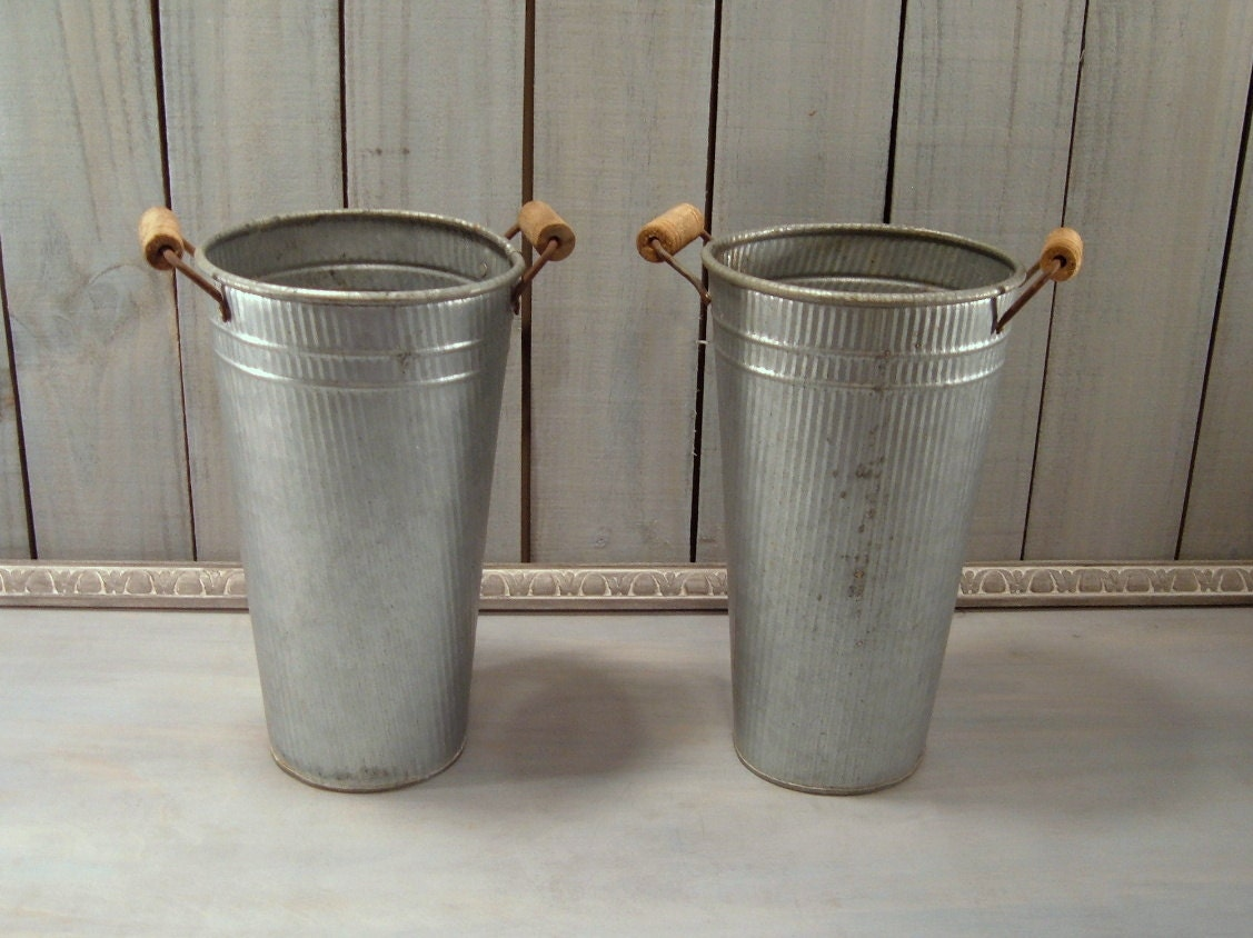 2pc metal vases vintage galvanized syrup buckets by for Rustic galvanized buckets