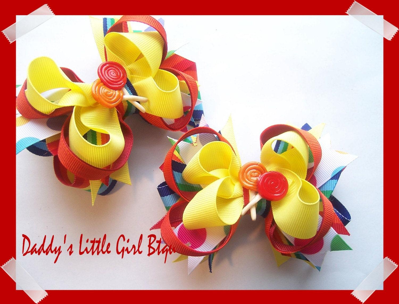 Lollipop Hairbows for Lollipops and Lizards Launch Bows from DaddysLittleGirlBtqu