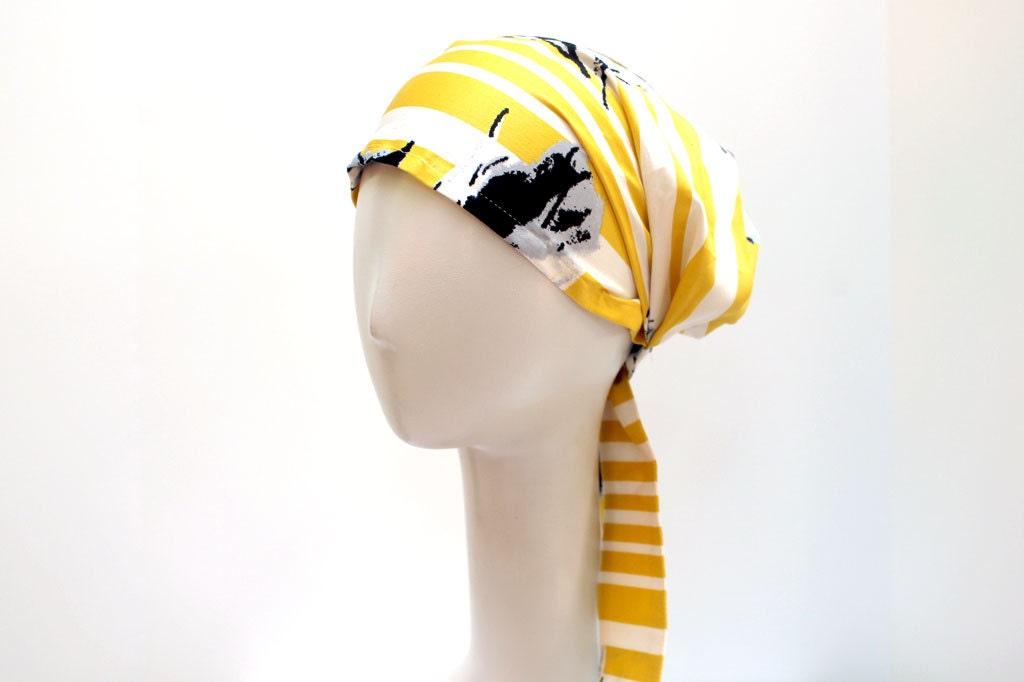 Women's Hair Cover Head Scarf YELLOW Fashion Head Scarves Women's Boho Headscarf in Cotton Twill - JEMIMAJACKMAN