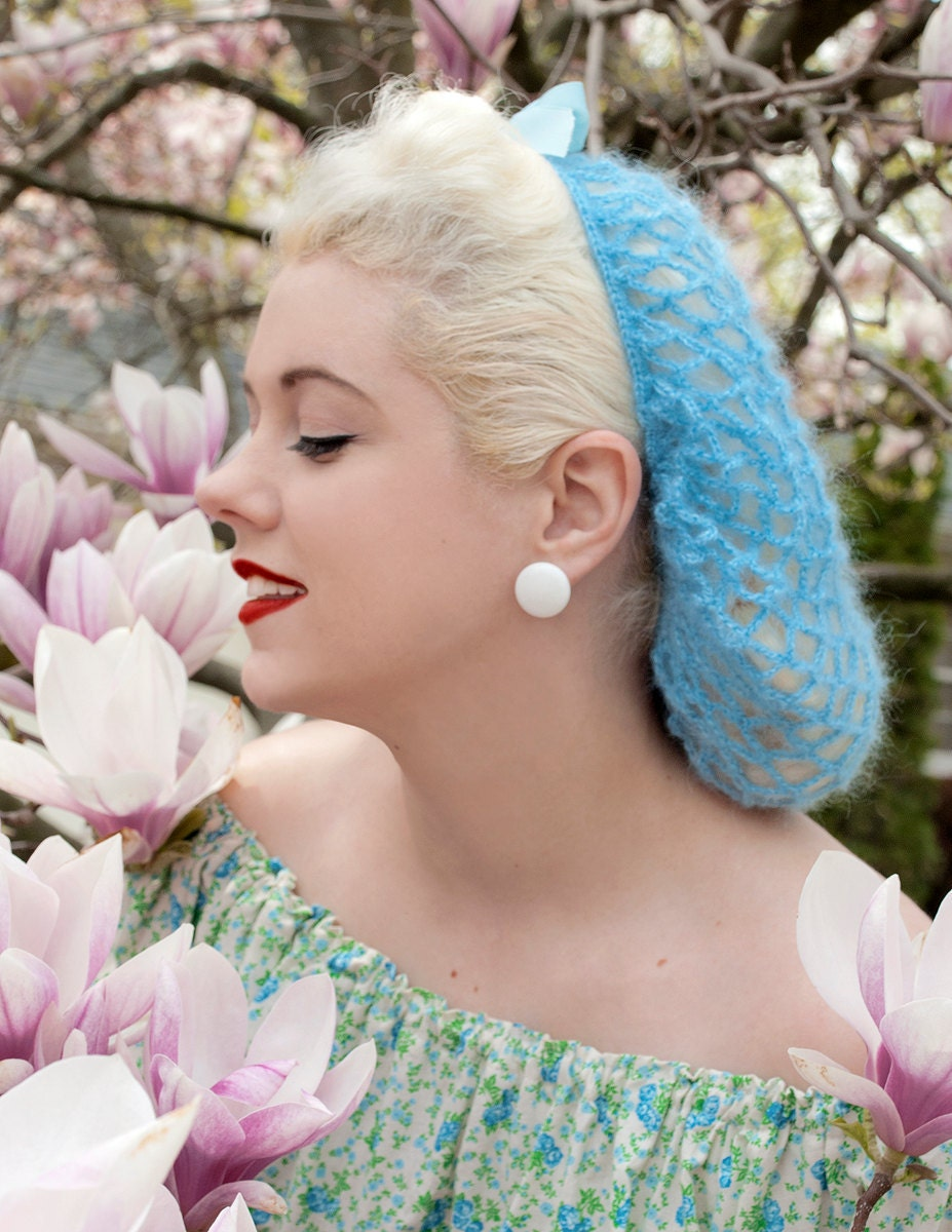 The Vintage Bunny Hair Snood in Sky Blue Mohair Crocheted from 1940's Design  Retro Pinup