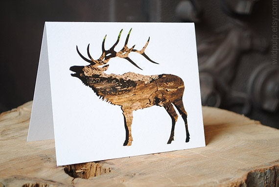 Elk Silhouette In Bark : Recycled Christmas Holiday Card - Woodland Animal, Eco Friendly Nature Art Stag Antler - wildpulp