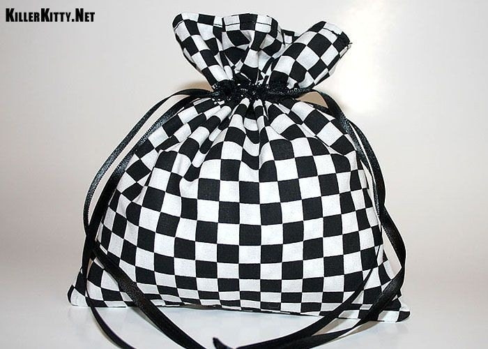 Checker Drawstring Mini Bag