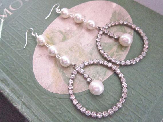 Bridal Earrings, Vintage, Rhinestone Earrings, Hoop Earrings, Pearl, Ivory, Extra Long