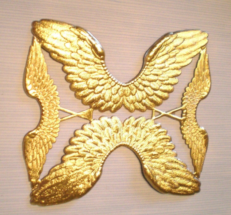 Angel wings dresden die cut embossed gold foil