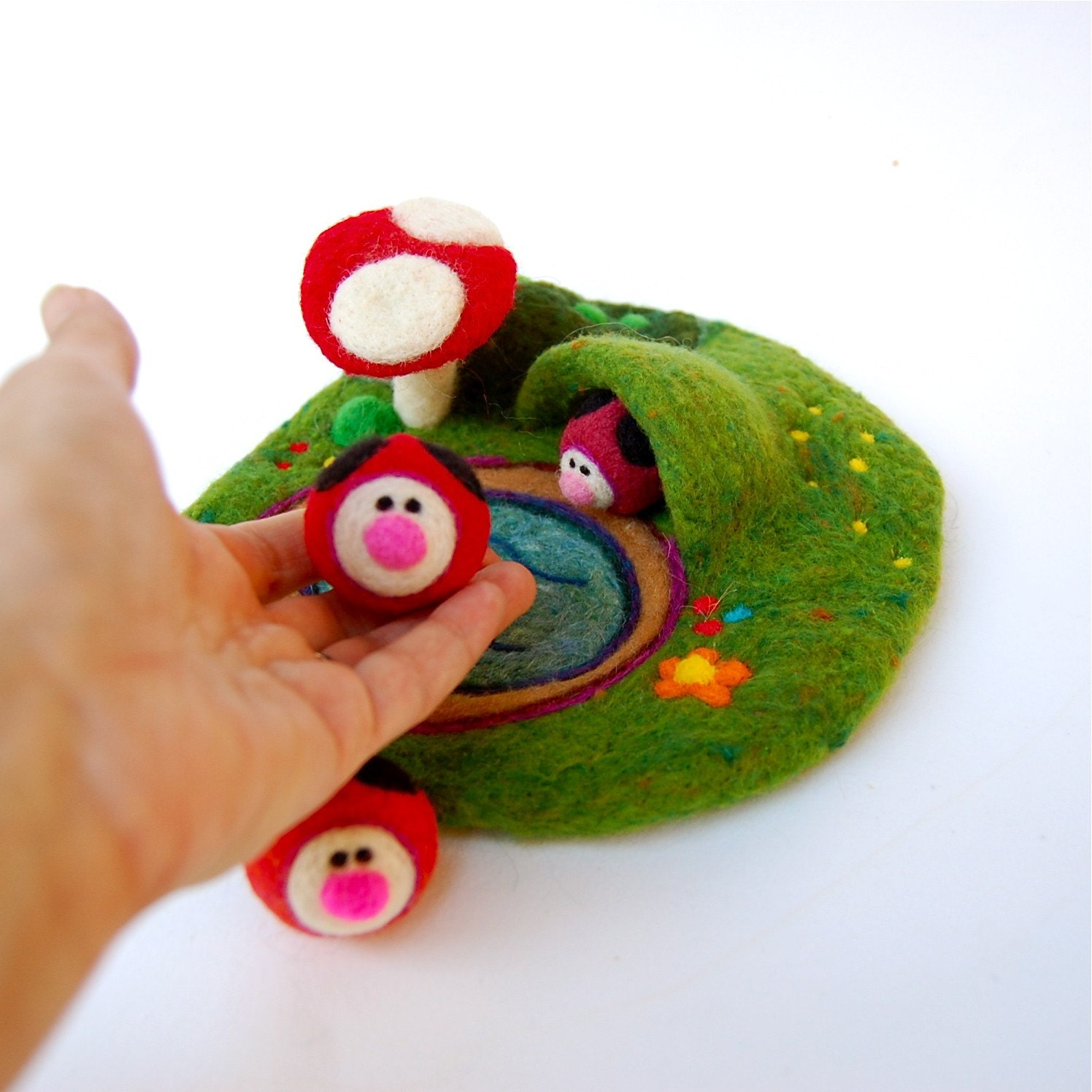 Mini Wool Playscape with Ladybugs, Cave and Toadstool