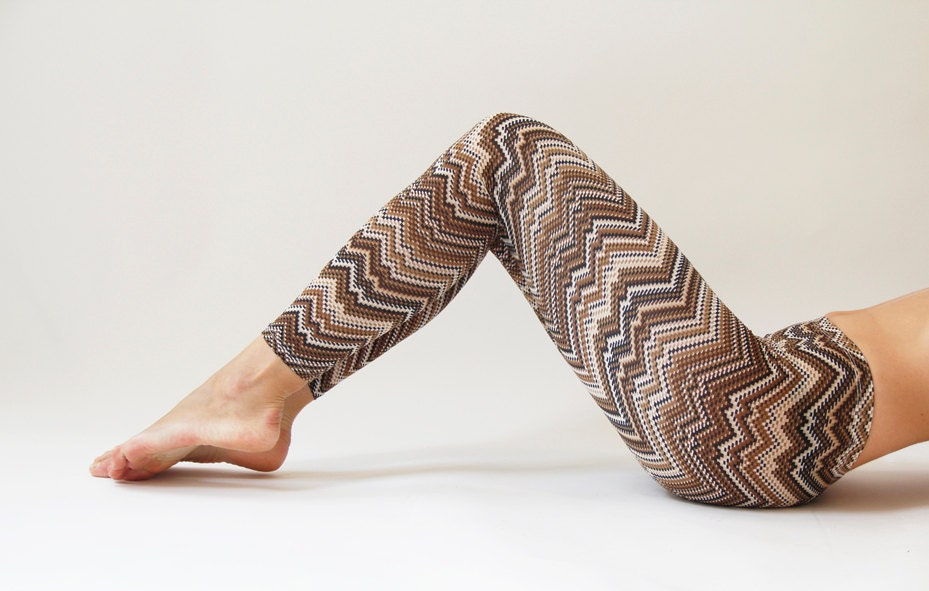 Winter Zigzag Brown  Women Leggings - Not Available - - MikiBeFashion