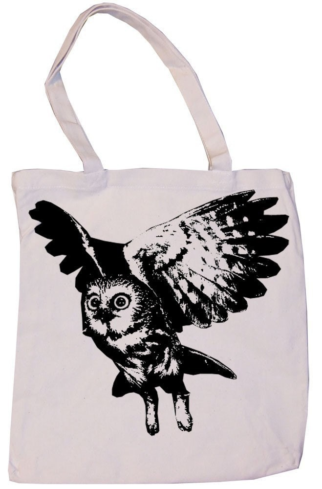 SALE Flying Barn Owl Retro Night Black and White Illustration Print Natural Tan Canvas Reusable Grocery or Book Tote Bag