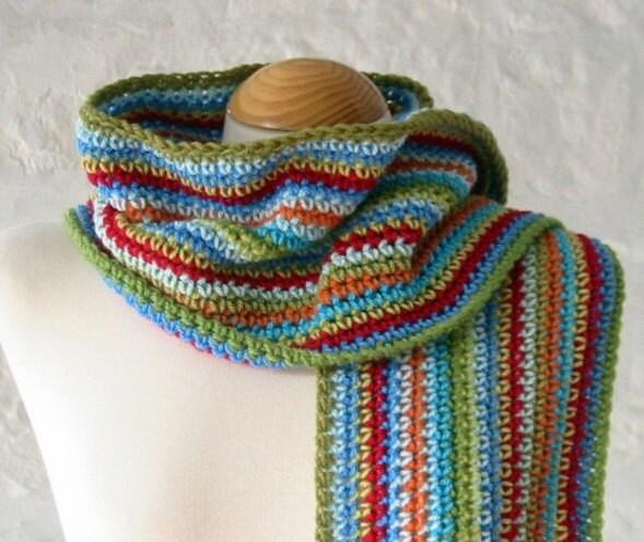 Crochet Scarf Pattern Vertical Stripes : Campus Unisex Crochet Striped Scarf Handmade in by ...