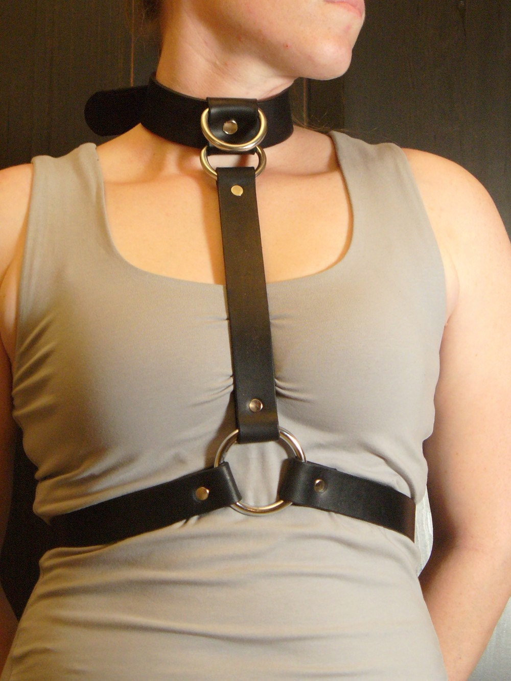 Fun Black Body Harness by BackstreetLeather on Etsy