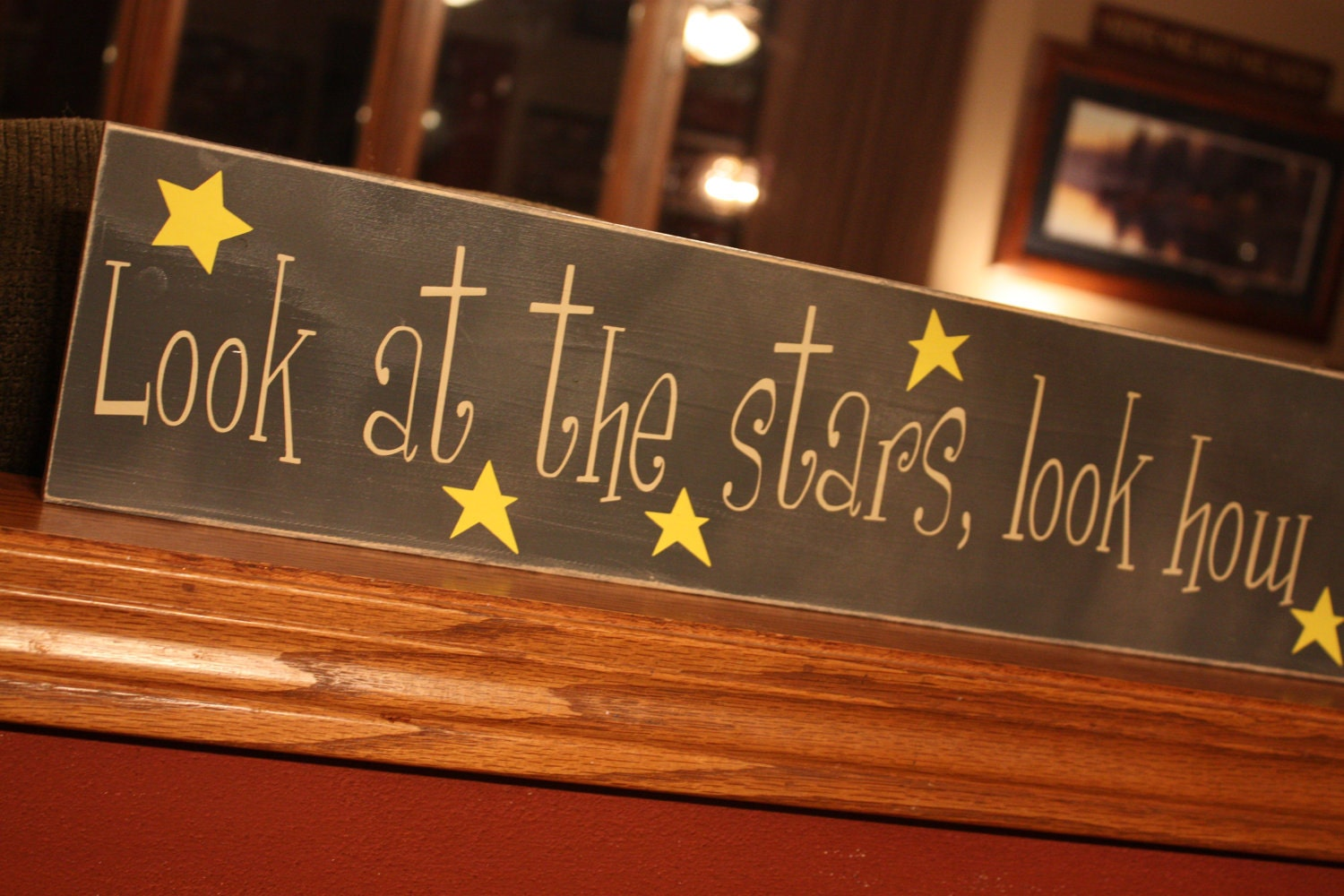 Wooden Sign With Vinyl Letters Look At The Stars By WordFlower
