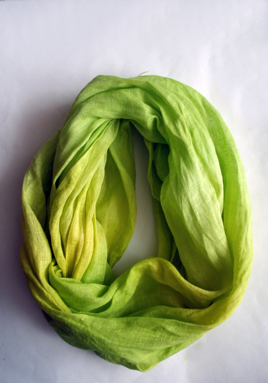 Hand Dyed Linen Scarf - Green Spring Scarf - Spring Fashion - Green Linen Shawl - lyralyra