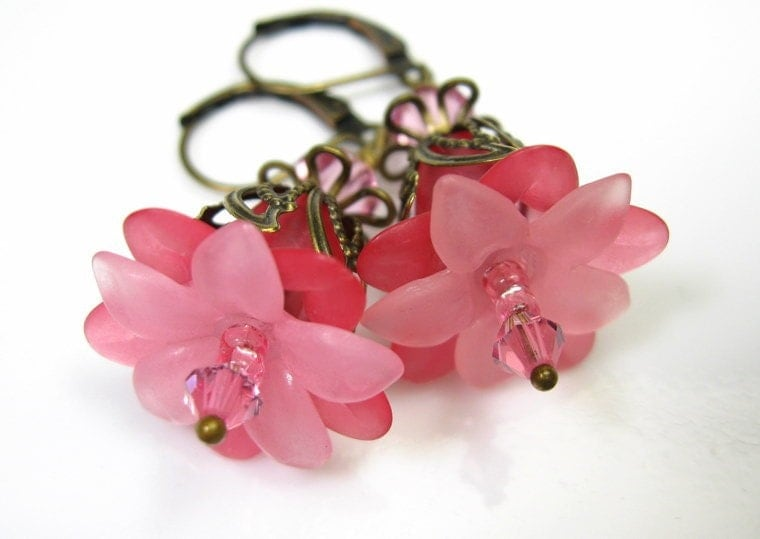 Cotton Candy Pink Swarovski Vintage Style Earrings