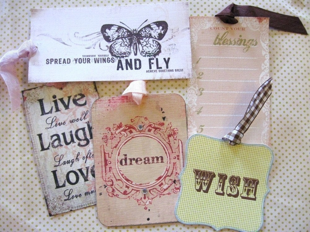 SAMPLE ASSORTMENT PACK. Set of 5  INSPIRATION...Hang Tags..Birthday...Party Favor...Gift..Shabby Chic..French..