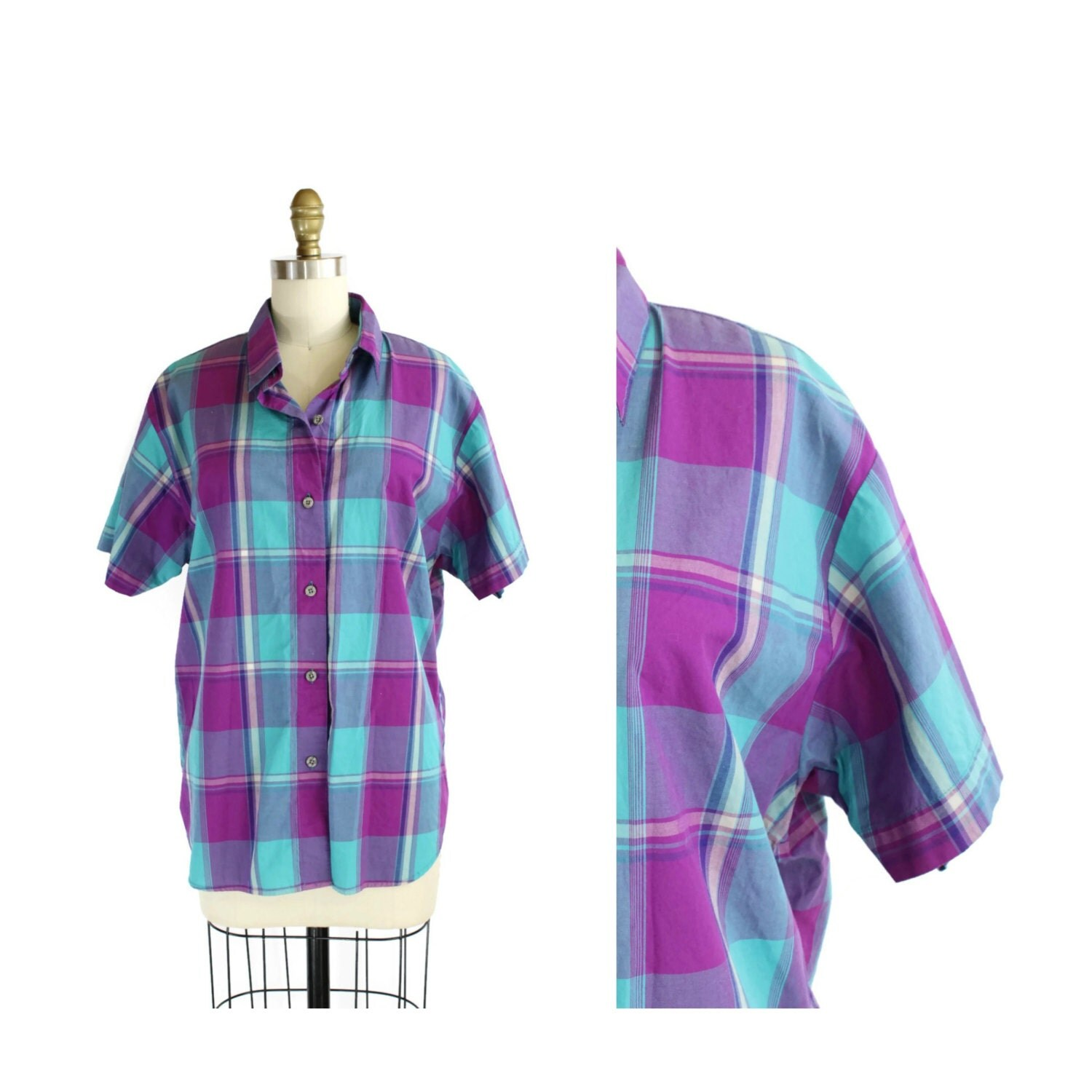 Items similar to teal and purple plaid button up shirt for Purple plaid button up shirt