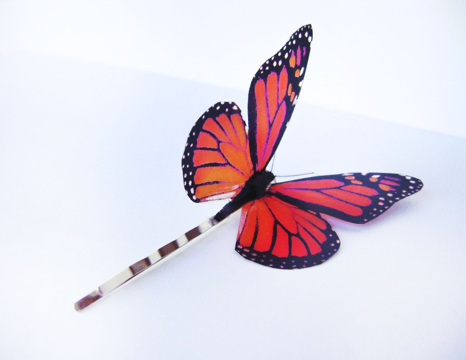 Butterfly hair clip, orange Monarch Bobby pin butterfly, Wedding hair accesories, Bridesmaid, insects, freedom accesories jewelry, butterfly - KandyDisenos