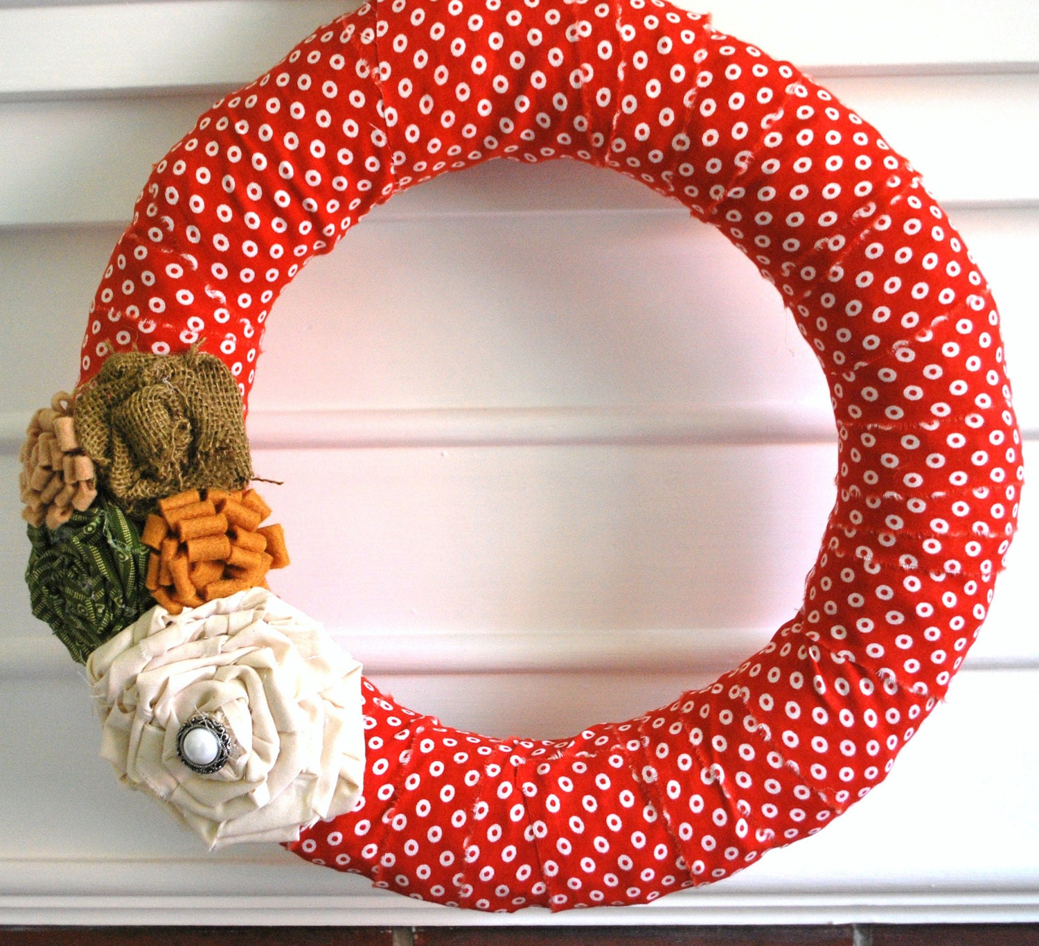 Christmas Fabric wrapped Wreath