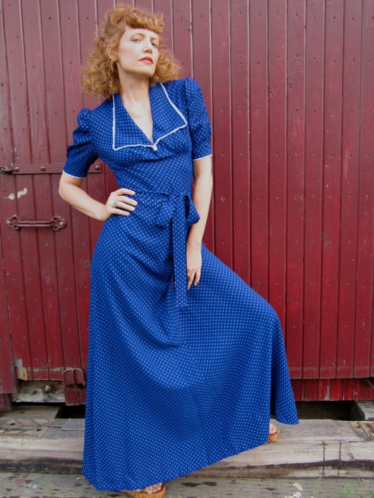 1970's Navy Blue Maxi Dress THE MARIANNE (SZ 6-8)