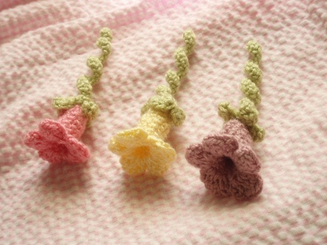 3-D Crochet Trumpet  Flowers in Spring Colors-Set of 3 for applique, embelishments or gift decoration tie-on tag