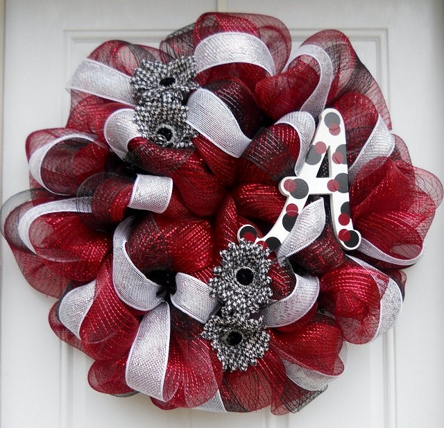 Alabama Mesh Wreath With Houndstooth And Elephant