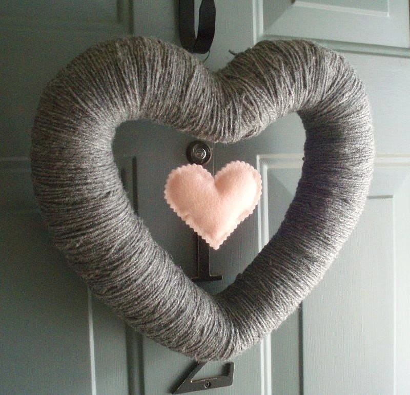 My Heart Handmade Front Door Yarn Wreath - 12in