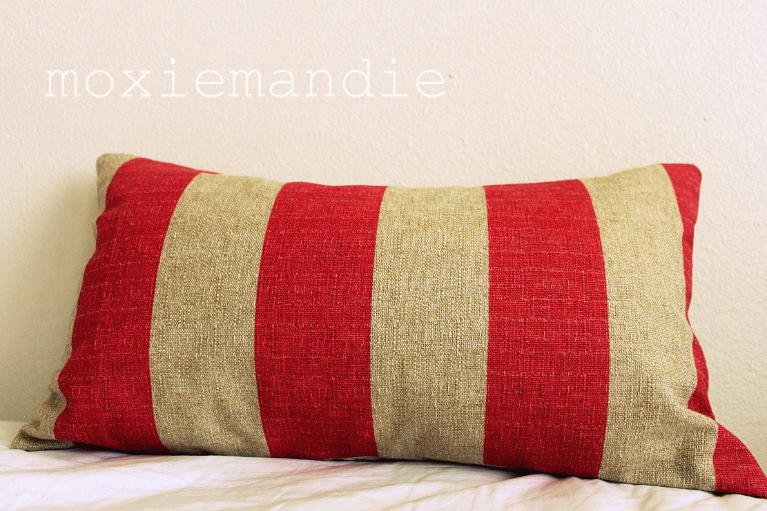 Khaki and Red Striped Pillow Cover