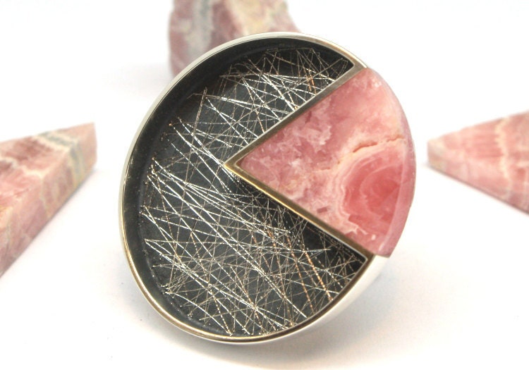 Rounded Pink Rhodochrosite Angle and Silver Ring