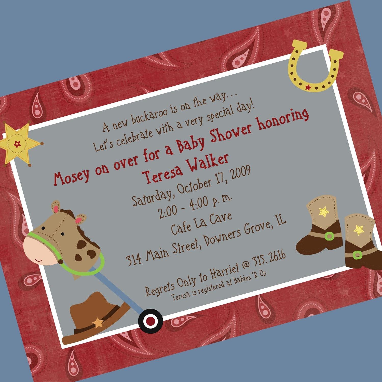 Cowboy Baby Shower Or 1st Birthday Invitation By