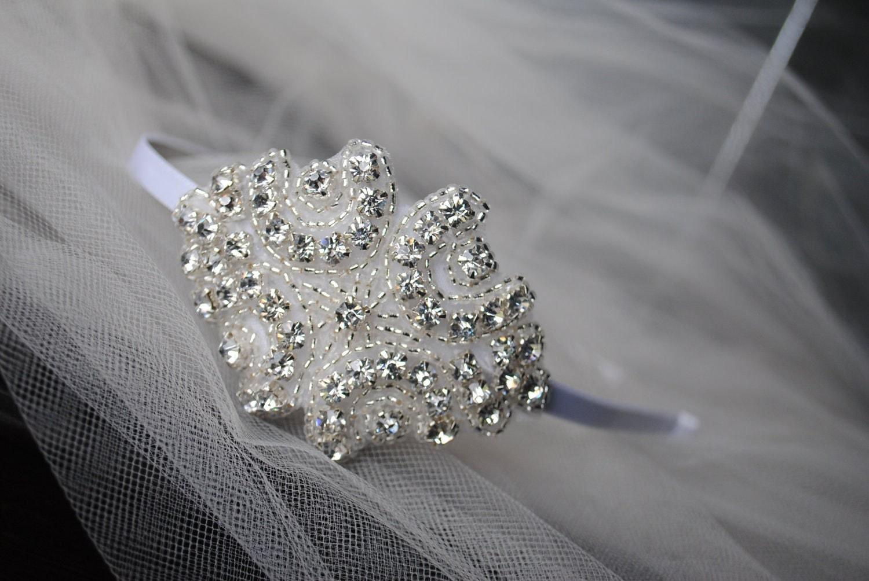 Bridal Rhinestone Headband,  Wedding Hair Accessory, White, Small